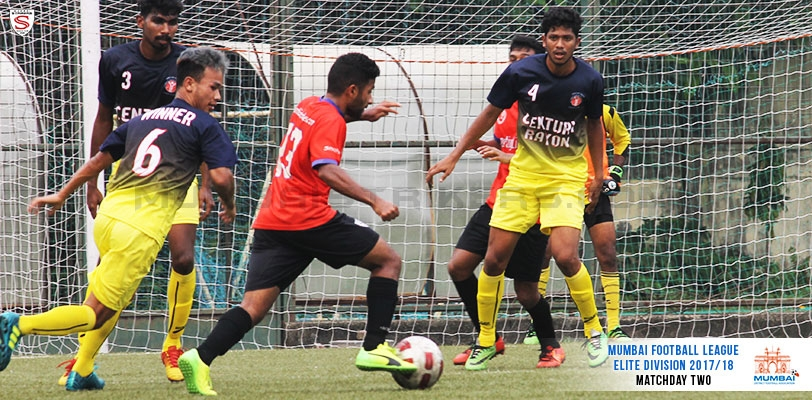 MS midfielder Abhijit Shetty eases past Century Full Backs before taking a shot on goal.