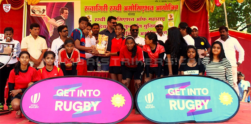 Mumbai Strikers rugby girls representing the Mumbai Suburban Rugby team win first place at the U-17 Maharashtra District Rugby Tournament.
