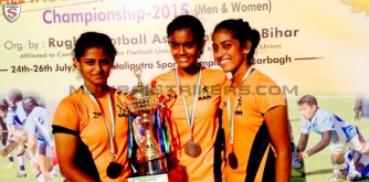 Left to Right: Mumbai Strikers Womens Touch Rugby players Shikha Thakkar, Roshni Sharma and Ruchi Shetty representing Maharashtra at  2015 Senior National Rugby 7s Championship.