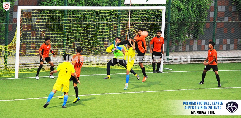 MS Center Back Arnold Mascarenhas clears the ball during Matchday 3 of the Premiership Football League.
